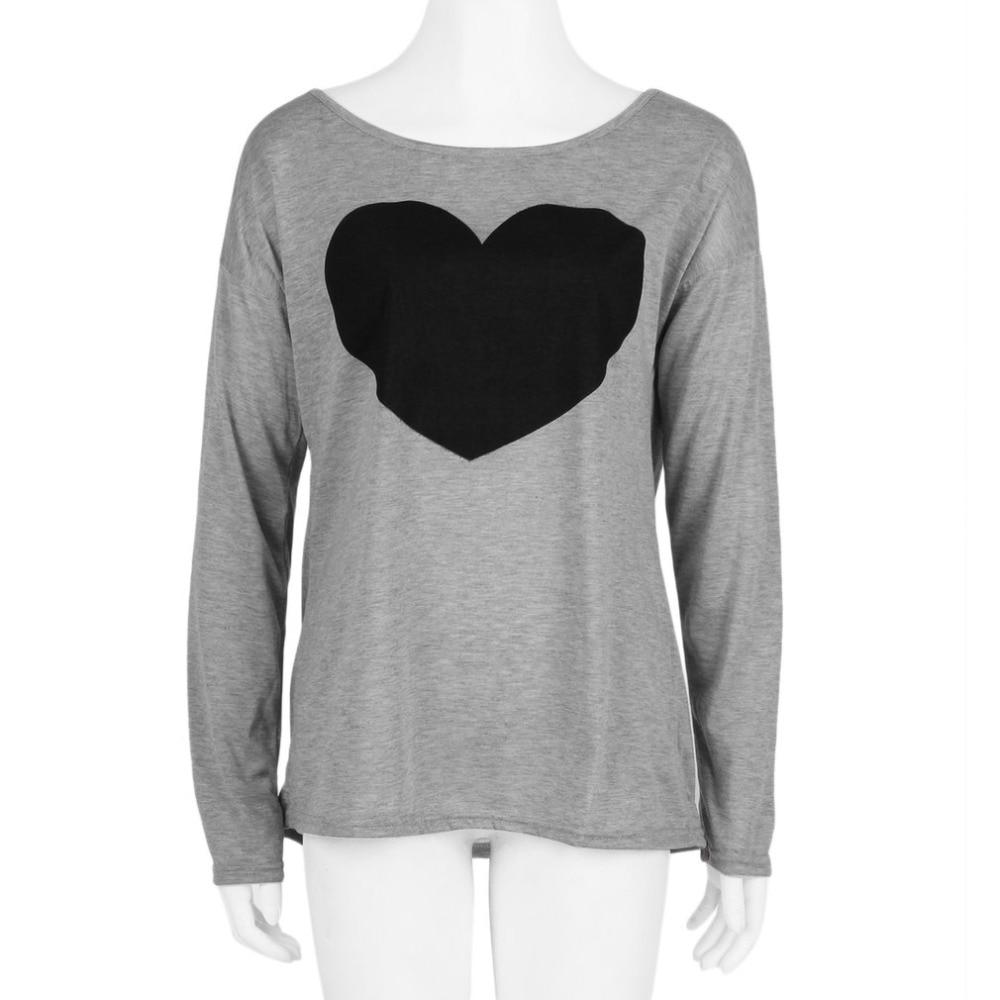 Design t shirt embroidery - Women Heart Printed Tops T Shirts Spring Autumn Embroidery Design T Shirts Female O