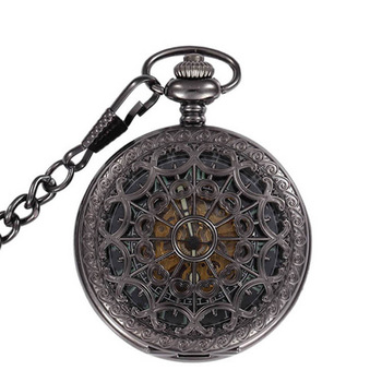 Luminous Skeleton Black Hollow Automatic Mechanical Pocket Watch Men Vintage Hand Wind Clock Necklace Pocket & Fob Watches Gifts