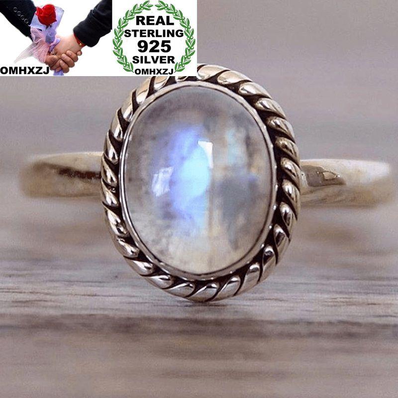 OMHXZJ Wholesale European Fashion Woman Man Party Wedding Gift Silver White Round Moonstone Taiyin Ring RR317