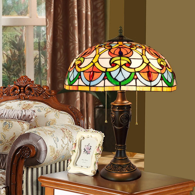 Eusolis 16-inch Vintage Table Lamp Stained Glass Mosaic Home Deco Abajur Para Quarto Decorador Deco Chambre Decoracao Para Casa цена