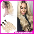 360 Lace Band Frontal With Bundles 3Pcs 1B/613 Blonde Ombre Brazilian Body Wave Virgin Human Hair With Full Frontal Lace Closure