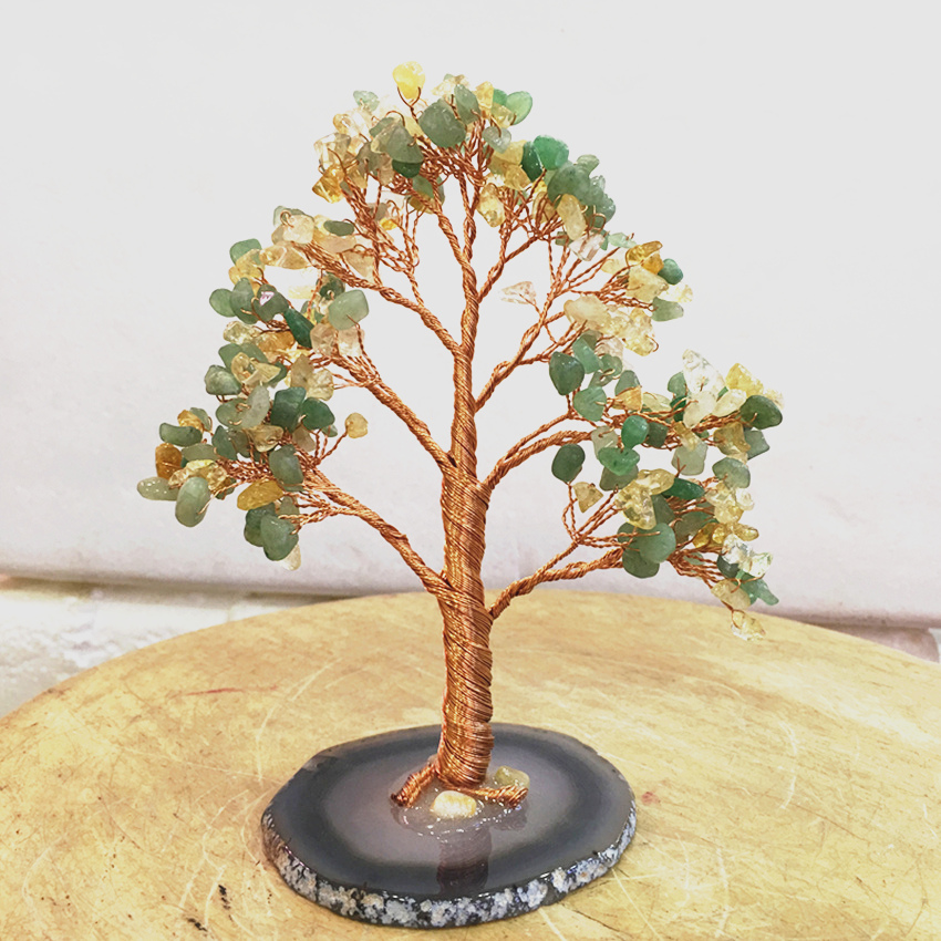 Crystal natural Dongling jade citrine quartz gemMoney Tree Feng Shui Wealth Home Decor Miniature Figurines PartyGift in Stones from Home Garden
