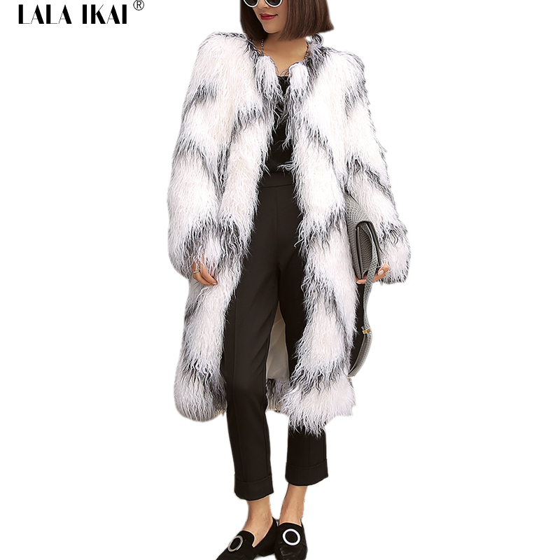 Chic 2017 Winter Windbreaker Coats Women Long Hair Fluffy White Faux Fur Jackets Coats Thicken Warm Long Furry Parkas SWQ0225-45