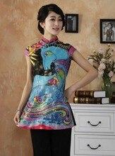 สูงแฟชั่นจีนWomenSilkซาตินเสื้อแปลกเสื้อกราฟฟิตีแบบดั้งเดิมคอจีนท็อปส์Sml XL XXL XXXL TY13