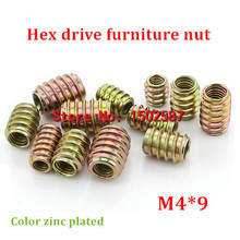 100pcs/lot M4*9 Color Zinc Coated Pass-Through Furniture Nut  Internal External Thread Screw For Wood Insert Nut