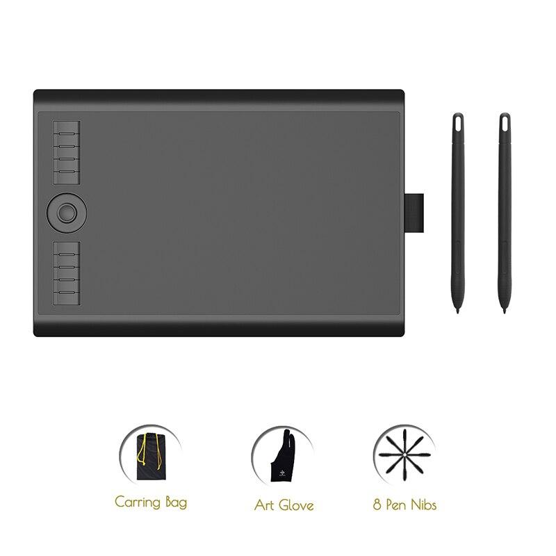 Gafairy M10K2018 Version avec deux stylo sans batterie 8192 pression artiste tablette graphique numérique pour dessin et écriture électronique