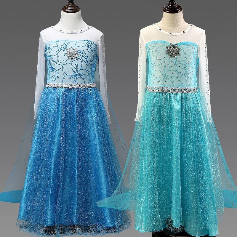 Girls elsa dress Costumes for kids snow queen Movie cosplay dresses princess anna Dress children party dresses fantasia vestidos
