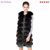80cm Real Fur Vest Dark Gray Fur Vest With Side Zipper Genuine Leather New Design Fox Fur Gilet for Ladies in Winter