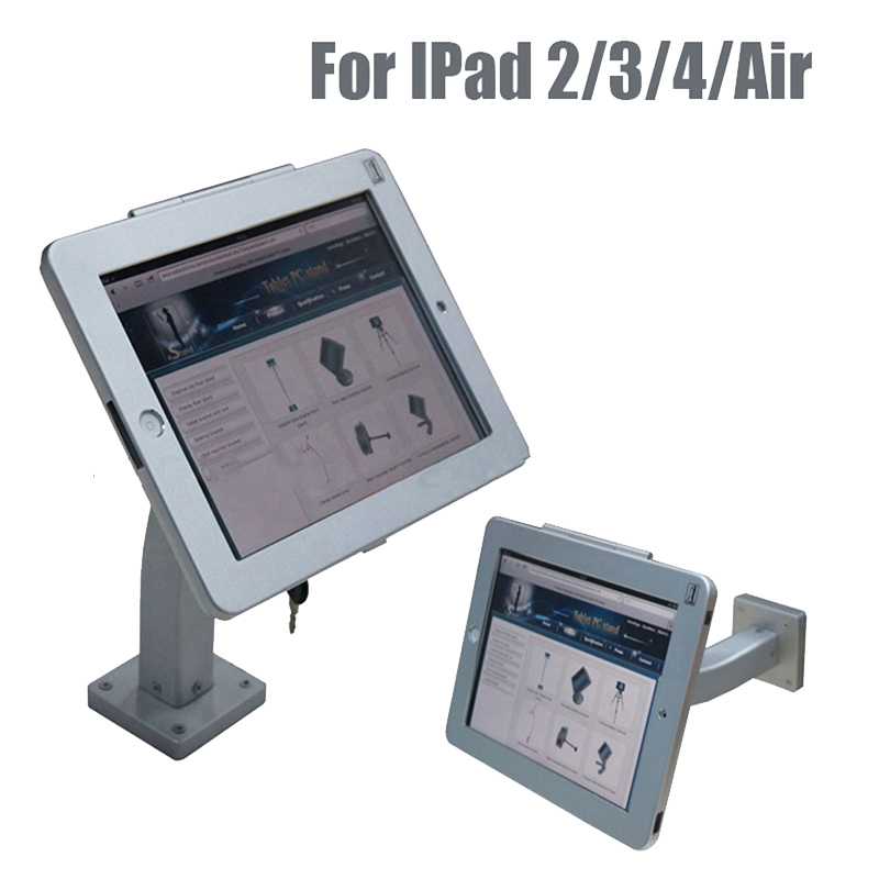 Tablet security holder lock display stand wall mount case bracket anti-theft device iPad2/3/4 with lockable metal case and key