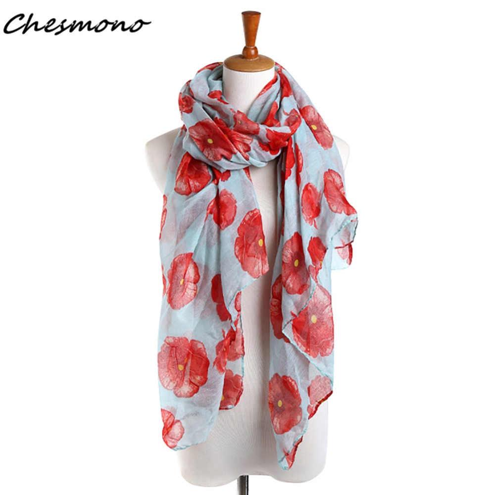 4 สีสีแดง Poppy ผ้าพันคอดอกไม้พิมพ์ผ้าพันคอยาว Summer Beach Wrap ผู้หญิงผ้าคลุมไหล่ Shawl Cape ผ้าพันคอสำหรับผู้หญิงหญิง