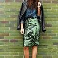 2016 Novas Mulheres Da Moda Saia de Alta Qualidade Verde Pacote Hip Saia De Cintura alta Saia Lápis Mulheres Saias Sexy