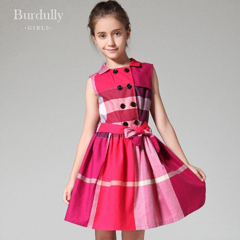 388433feb4260 Adolescente filles robes d été 12 ans britannique style grille robes  enfants costumes pour fille vêtements 13Y vêtements de mode pour les  adolescents dans ...