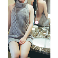 New Sexy Cosplay Reversible Turtleneck Sleeveless Long Virgin Killer Sweater Japanes Knitted Sexy Backless Sweater FX38