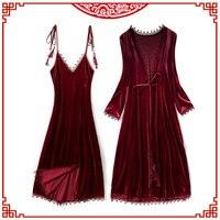 Gold Velvet Winter Women Nightdress Robe Sets Pajamas Long Section Full Open Back Tassel