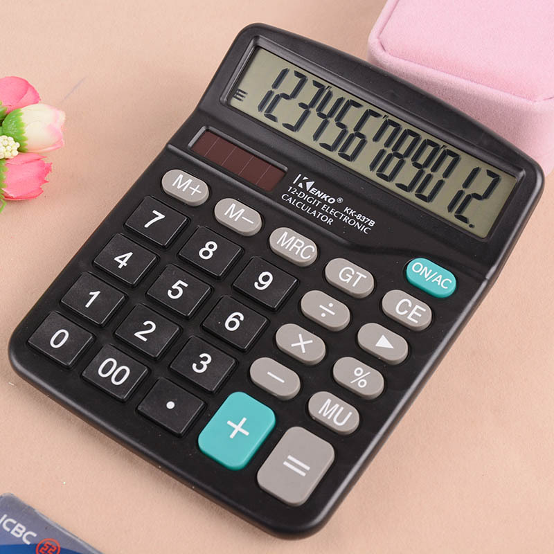 Black 12 Digit Large Screen Calculator Fashion Computer Financial Accounting QJY99 image