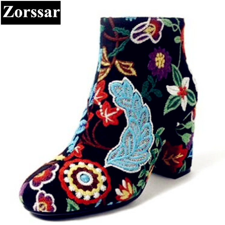 {Zorssar} 2018 NEW Fashion embroider Women Boots High heels ankle boots Round toe womens snow Boots Ethnic style women shoes zorssar brands 2018 new arrival fashion women shoes thick heel zipper ankle chelsea boots square toe high heels womens boots