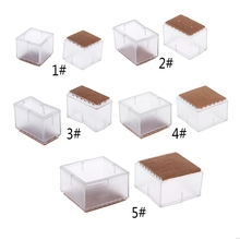 цена на 8pcs Square Silicone Chair Leg Caps Feet Pads Furniture Table Covers Wood Floor Protectors Transparent New