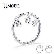 UMODE New 2019 Clear Round Zircon CZ Crystal Footprint&Star&Flower Charm Ring for Women Gift White Gold Jewelry AUR0495