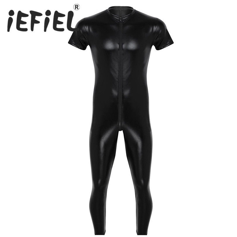 iEFiEL Black Faux Leather Mens Lingerie Stretchy Short Sleeves Zipper Crotch Full Body Leotard Jumpsuit Male Nightclub Bodysuit