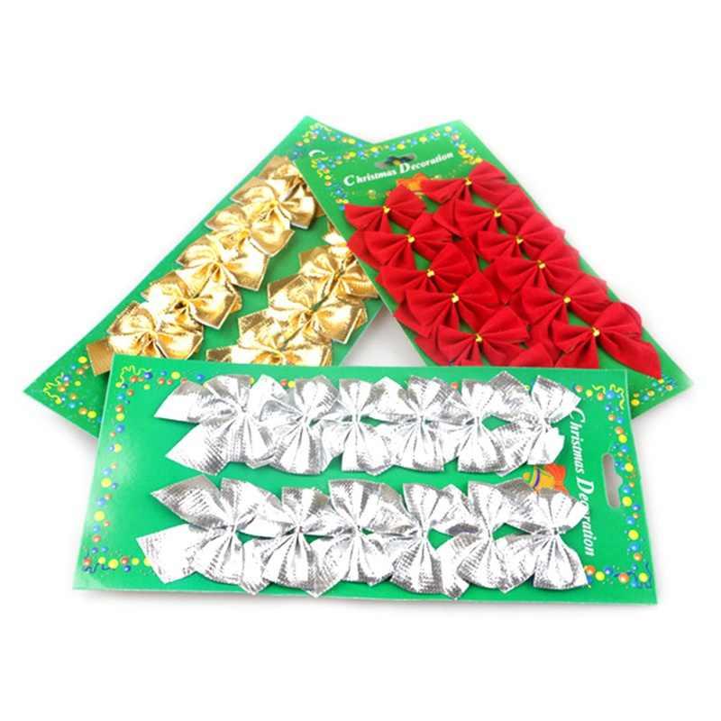 12 pçs/set Ouro Prata Vermelho Gravata borboleta Bonita Fita Arcos Festival Da Decoração Da Árvore de Natal Pingente de Natal
