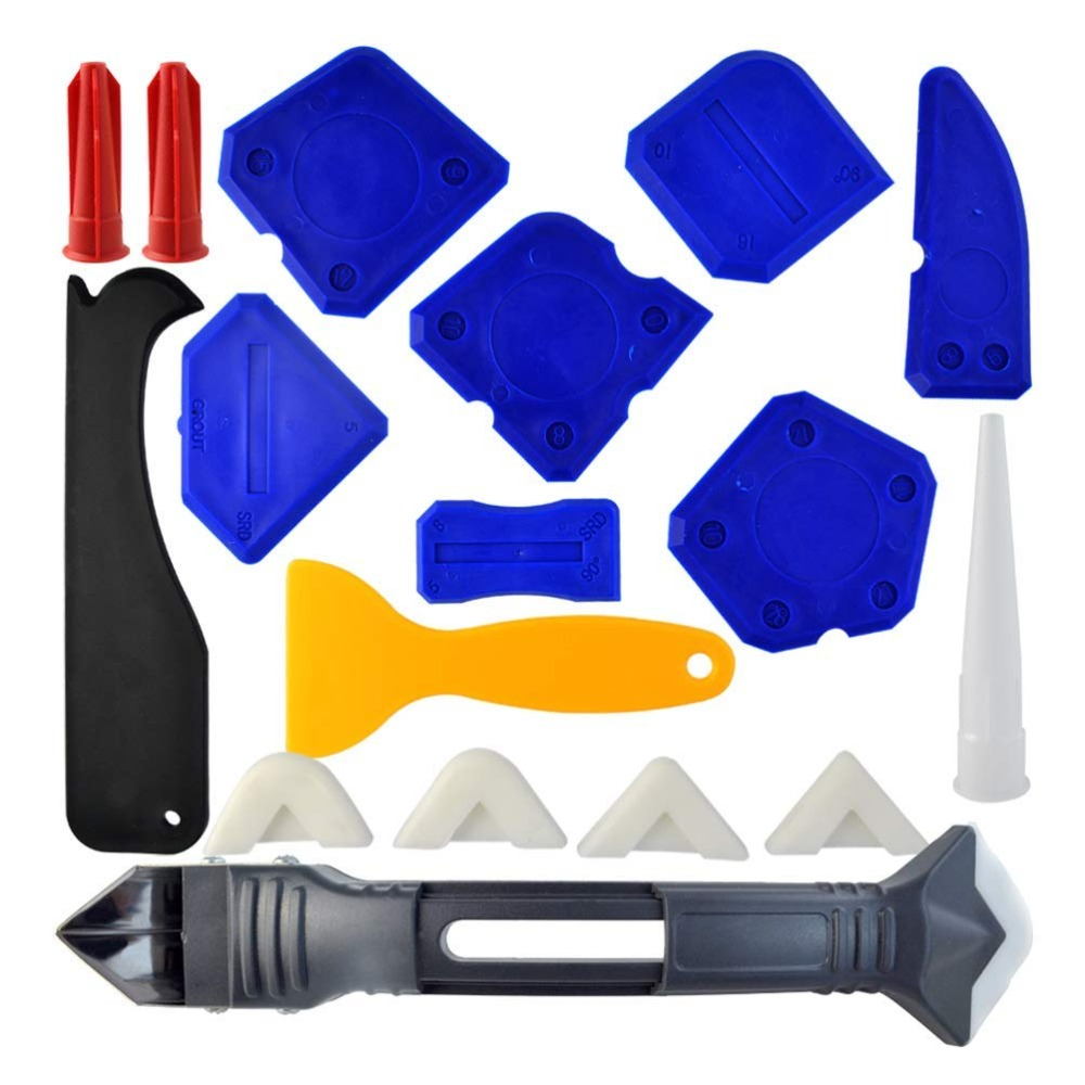 18 Pieces Caulking Tool Kit And 3 In 1 Caulking Tools Silicone Sealant Finishing Tool Grout Scraper Caulk Remover Caulk Nozzle