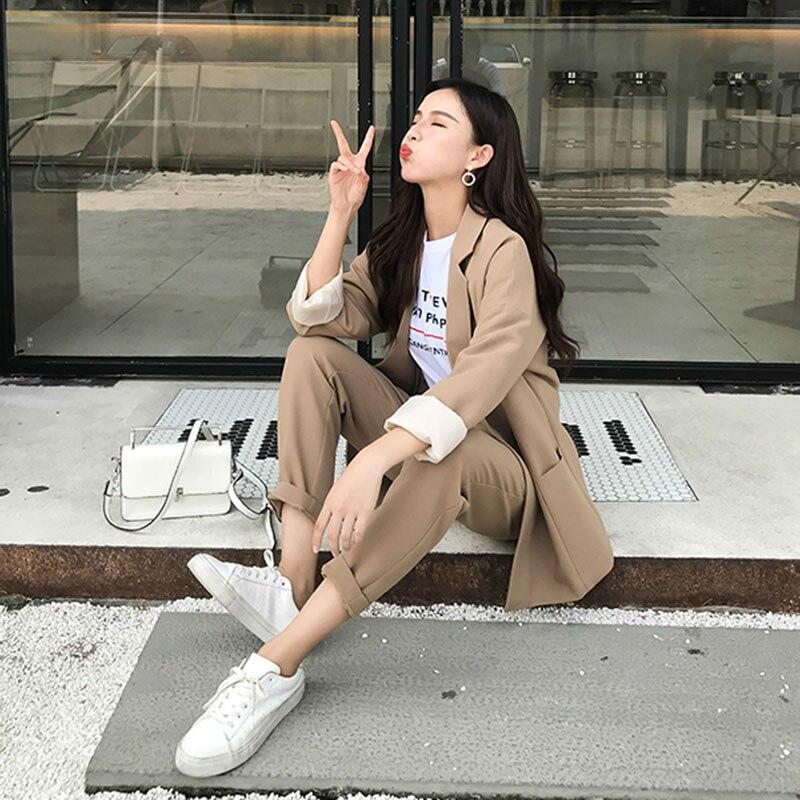 Vornehm Terno Feminino Echt Frauen Pant Anzug Kleinen Anzug Weibliche Britischen Mode Zwei-stück Set 2019 Frühjahr Neue Einfache Lose Mantel Frau Einfach Zu Schmieren Anzüge & Sets