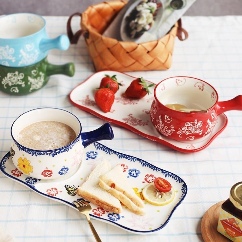 Breakfast  cereal bowl Ceramic instant noodles bowl Japanese rice bowl dessert tableware Afternoon tea set ensemble petit déjeuner bol
