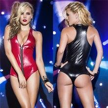 Women Sexy Catsuit Lingerie Hot Erotic Bodysuit Pole Dance Costume Porno Faux Leather