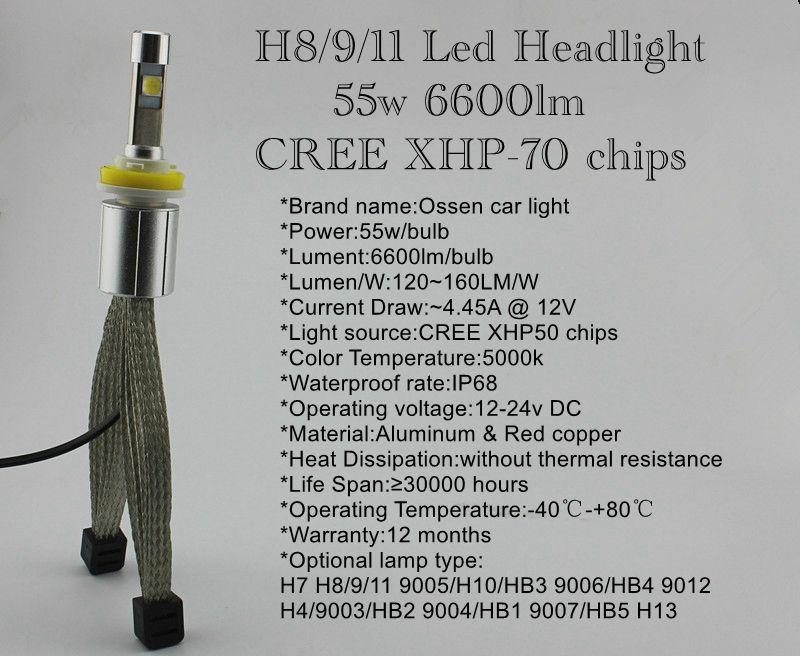 Ossen P70 H8 H9 H11 LED Headlight 5000k 55w 6600lm Xenon White Head light H4 H7 9005 HB3 H10 9006 HB4 9012 9004 9007 H13 Headlights 2