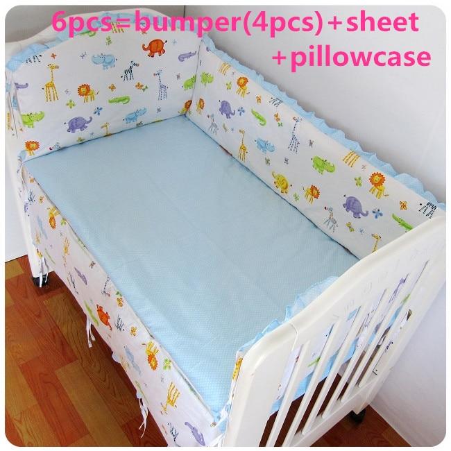 2016 6PCS Cotton Cot Crib Bedding Newborn Baby Bedding Set Cartoon Elephant Bumpers (bumpers+sheet+pillow Cover)