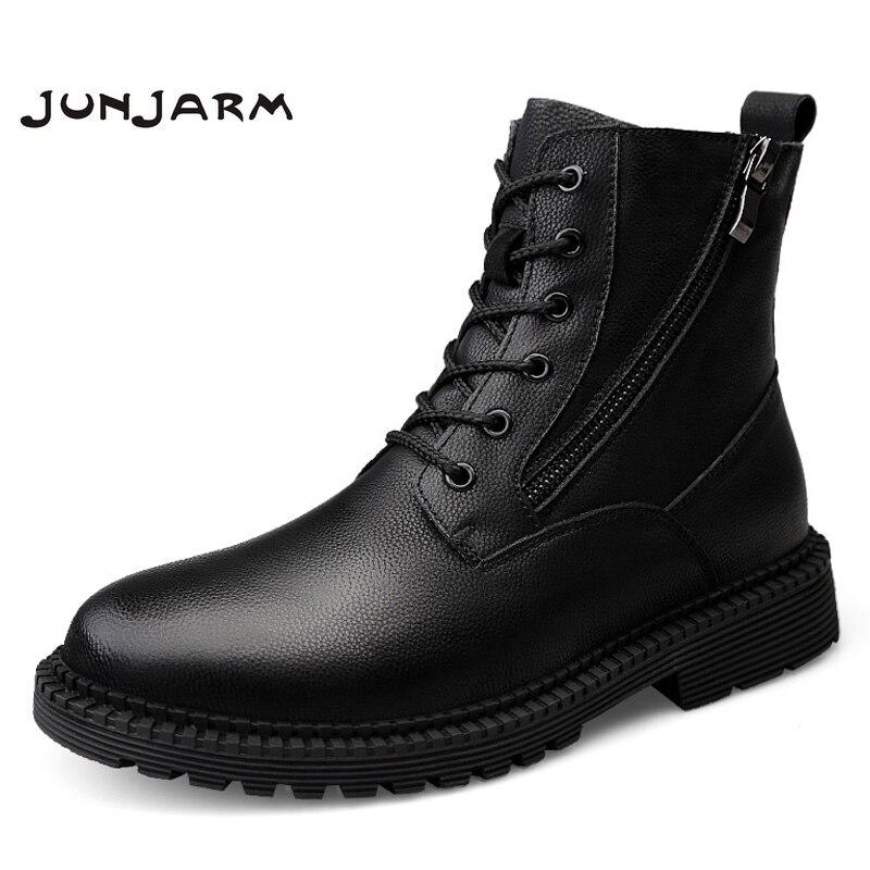JUNJARM Fashion Men Boots High Quality Genuine Leather Ankle Snow Shoes Warm Fur Plush Lace-Up Winter Size 38-47