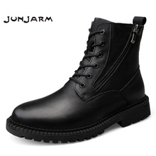 JUNJARM Fashion Men Boots High Quality Genuine Leather Ankle Snow Boots Shoes Warm Fur Plush Lace-Up Winter Shoes Size 38-47