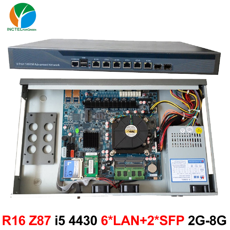 Firewalls appliance network router 1u with 6 LAN 2 SFP intel 82599ES 6 82574L Gigabit lan Intel Quad Core i5 4430 3.0Ghz network security solution 1u router with two sfp intel i350 six 82583v gigabit lan intel quad core i7 3770 3 4ghz 2g ram 8g ssd