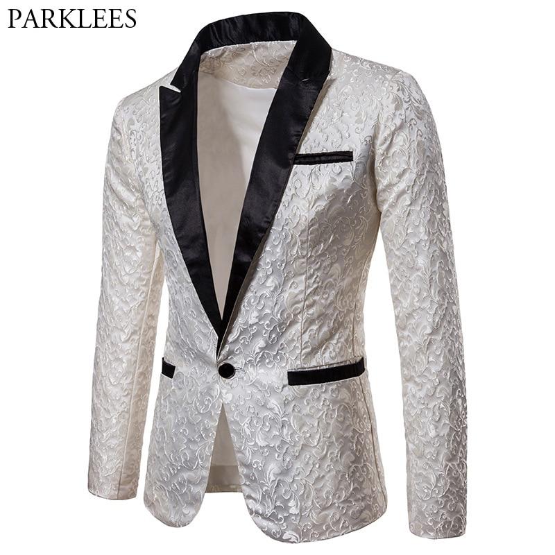White Jacquard Floral Blazer Men 2018 Brand New Slim Fit Single Button Suit Jacket Men Wedding Party Groom Tuxedo Blazer For Man