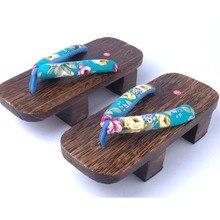 Unisexe Cosplay GETA Japonais SAMURAI Sabots Bois Sandales sabots bois plat talon carré chaussures à bout de planche d'été pantoufles sandales