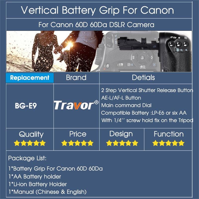 Canon 60D 60Da DSLR Kamera Dəyişdirmə BG-E9 üçün LP-E6 - Kamera və foto - Fotoqrafiya 6