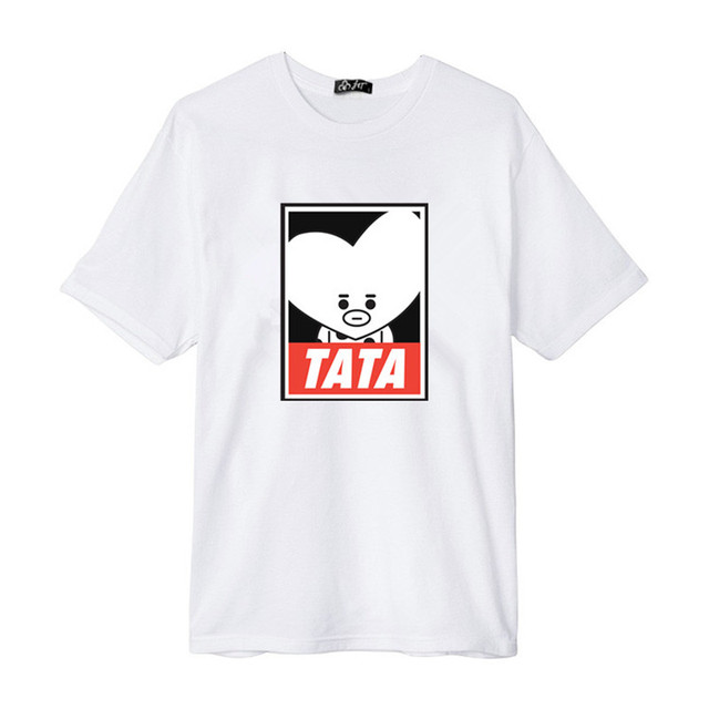 A medida camisas Kpop BTS BT21 de dibujos animados álbum