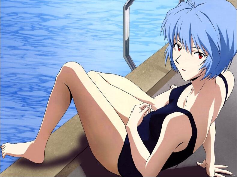 Neon Genesis Evangelion Rei Hot Swimsuit Anime Art