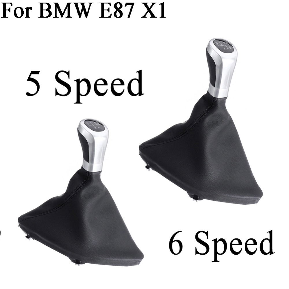 Car 5 speed For BMW E87 X1 Gear Shift Knob Stick Cover PU Leather Manual Shifter Left Hand Drive