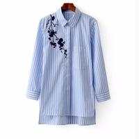 Women Embroidered Blouses Cotton Blue Striped Long Sleeve Shirt Turn Down Collar Top Camisas Femininas Blusa