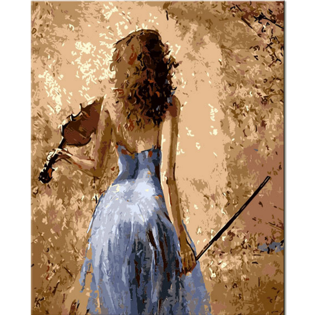 Handmade Blue Dress Girl Paintings for Wall Room Decor By Numbers ...