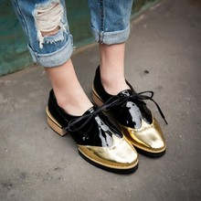fashion women pointed toe oxford lace up shoes lady loafer vintage girl student shoes