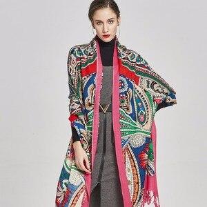 Image 2 - Nueva bufanda de Invierno para mujer marca de lujo Pashmina Cachemira manta de Poncho bufanda envoltura bufanda de lana mujer Bandana, hiyab musulmán chal