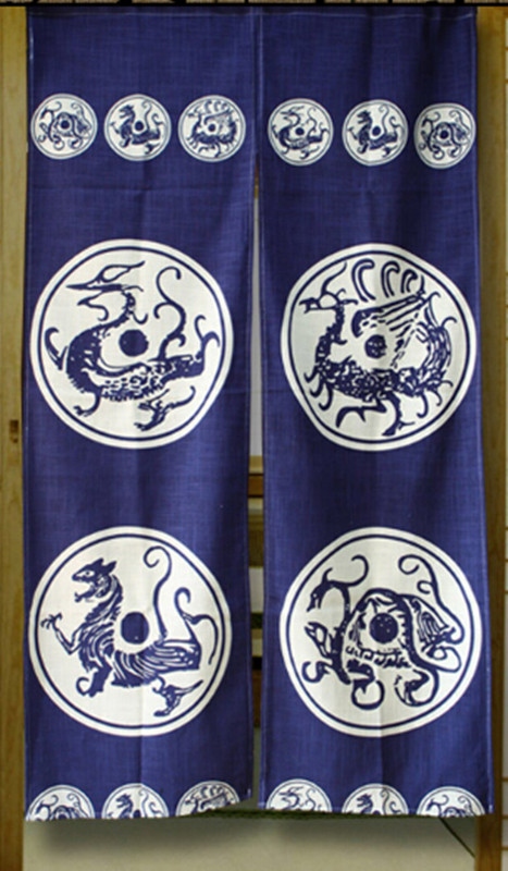 (Customized Size Accept) Korea/Japan/China Sushi Restaurant Kitchen Split Doorway Cloth Curtain-DRAGON(85x150cm)