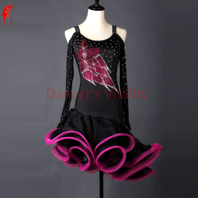 Girls Latin Dancing Clothing Spandex Long Sleeves Latin Dance Dress For Women Latin Dance Stones Dress Dancer's Dance Clothes
