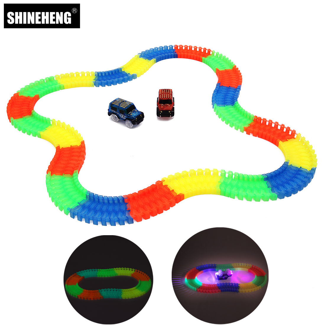 Shineheng Miracle Flexible Track Slot Car with LED Light Glows In The Dark Racing Track Railway Toys Gift for Children Kids