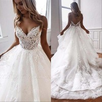 New Arrival Beach Wedding Dresses 2020 Spaghetti Illusion Sexy Backless Boho Wedding Gowns Sweep Train Bohemian Bride