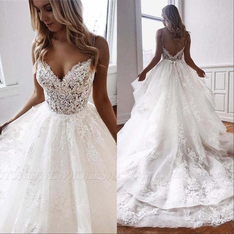 Nouveauté plage robes de mariée 2020 Spaghetti Illusion Sexy dos nu Boho robes de mariée balayage Train bohème mariée