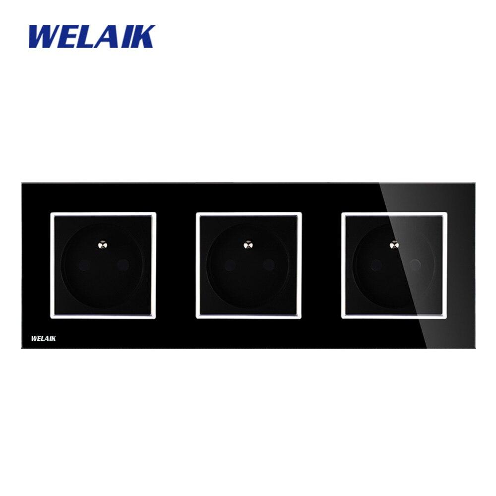 WELAIK Glass Panel EU Wall Socket Wall Outlet Black France Standard Power Socket AC110~250V A38F8F8FB welaik glass panel wall socket wall outlet white black european standard power socket ac110 250v a38e8e8ew b