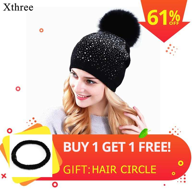 Xthree  women winter beanie hat Rabbit fur wool knitted hat the female of  the 5327c00a486c